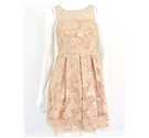 BNWT Eva Franco Size 4 Salmon Pink Sequin Pouf Dress With Lace Detail