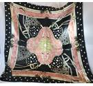 Vintage Non-Traditional Equestrian Scarf Peach Black and White Unbranded - Size: L - Multi-coloured