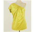 Ted Baker Size 10 Yellow One-Shoulder Silk Top