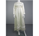 Lovely Handmade 70s Style Ivory Empire Waist Wedding Dress Size 10 With White Floral Trim