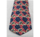 Austin Reed blue and red checked silk tie with yellow flowers