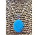 Sterling Silver Pendant with Turquoise Cabochon Unbranded - Size: Medium - Metallics - Pendant