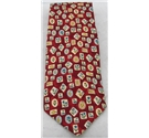St Michael at M&S red mix silk floral print tie