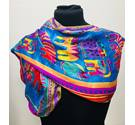 100% Silk Cats Scarf With Vivid Colours