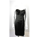 Alberto Makali Size 10 Dark Green and Black Leopard Print Strapless Dress