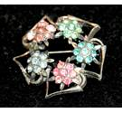 Retro Multicoloured flower Brooch