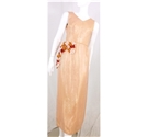 Vintage handmade size S peach & gold upcycled evening dress