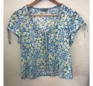 Per Una Blue Mix Short Sleeved Round Neck Top Size 16