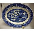 "Vintage Washington ""Old Willow"" Blue and White Oval Serving Platter"