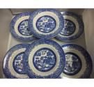 "Set of 6 Vintage Washington ""Old Willow"" Blue and White Soup Bowls"