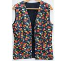 Unbranded, size L black, red & yellow mix floral waistcoat