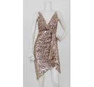 TFNC London All Over Sequin Fitted Dress Rose Gold Size: 8
