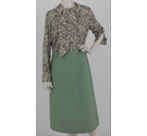 Peggy French Couture Vintage Floral Dress Sage Green Size: 16