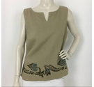 Laura Ashley Embroidered Sleeveless Top Beige Size: 12