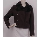 Wabi Creation Cropped Coat with Faux Fur Brown Size: M