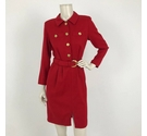 Jaeger Belted Dress with Gold Buttons Red Size: 8