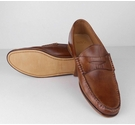 M&S Collection Natural Waxed Leather Loafers Brown Size: 6.5
