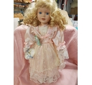 Porcelain doll - 'Theresa' - wearing pink dress