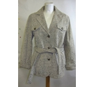 Sarah Kern Leather Jacket Cream Size: M