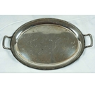 Unbranded Plated Oval Metal Tray With Handles - 18 inches by 12 inches Overall.