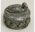 Vintage Pewter P Rice Woodsetton Duck Pill Box