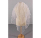 Cream Veil with Embroidered Hem