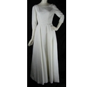 Unbranded-Size 6/8-White-A Line Wedding Dress with Button and Bow Detail