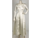 Vintage Applique Satin Wedding Dress Ivory Size: XS