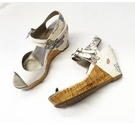 Clarks Floral Pattern Wedge Sandals White Mix Size: 7