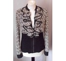 Luxe Collection Paris Ruffle Collar Zip-up Jacket Black/White Size: M