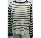 Penguin by Munsingwear Striped lambswool jumper Maroon/cream Size: XL