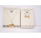 Sterling silver heart pendant necklace and earrings