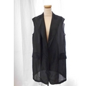 Donna Karan Sheer Sleeveless Wrap Cardigan Black Size: M