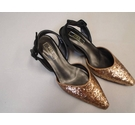 M&S Collection Glittery sling back shoes Black/Gold Size: 4.5