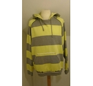 FIRETRAP STRIPED FRAYED HEM HOODIE GREY/YELLOW Size: L