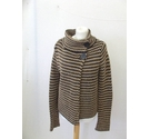 Topshop cardigan chunky crochet knit high neck brown black tan Size: 10