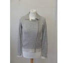 The White Company cotton biker jacket cardigan Grey marl knit Size: XS