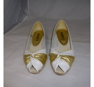 Bally White peep toe wedge heel shoe White with gold Size: 2.5