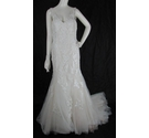 Wtoo-Size 12/14- Ivory-Xiomara Fit and Flare Wedding Dress with Illusion Shoulders and Back