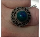 Unknown Silver and Agate Ring Blue and Green Size: Medium