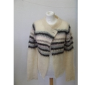 French Connection mohair criochet cardigan knit cream purple Size: M