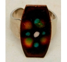 Vintage Handmade Enamel Costume Ring Brown Multi Size: Medium
