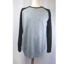 boohoo Crew Neck Jumper Grey/Black Size: L