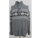 M & S North Coast Bottoned funnel neck jumper Grey mix Size: XL