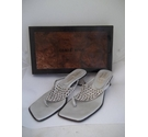 Gomez Rivas Diamonte Thonged Slip on Shoes Silver Size: 4