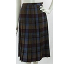 VINTAGE Edinburgh Woollen Mill Compliments Wool Pleat Skirt Blue Mix Check Size: 8