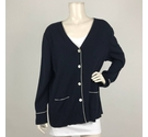 Basler Cardigan with Contrast Stripe Navy and White Size: 16