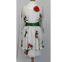 Akris Floral Silk Dress Cream Red Green Size: 10