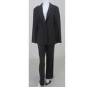 Hobbs Pinstiped Trouser Suit Dark Grey Size: L
