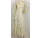 John Charles Vintage 70's Lave Dress Cream Size: S